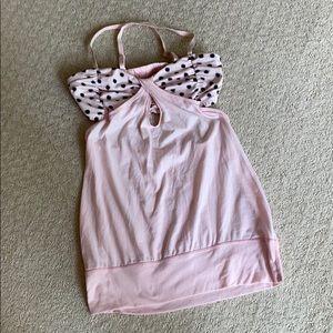 Lululemon light pink and polka dot yoga top.